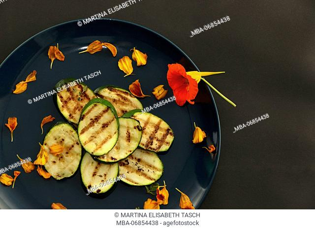Arranged grilled courgette slices
