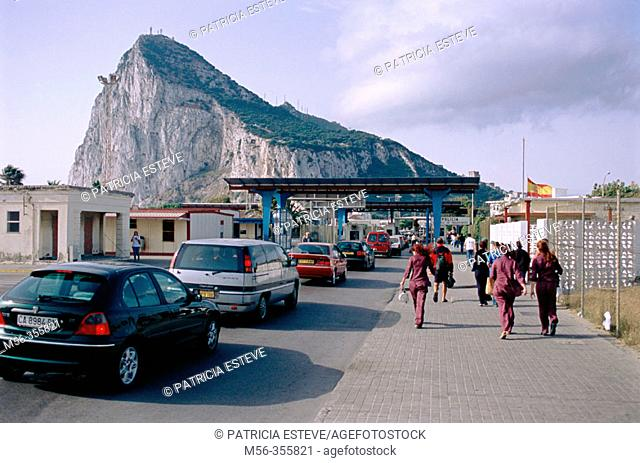 Spanish workers crossing the border to Gibraltar. Gibraltar. UK
