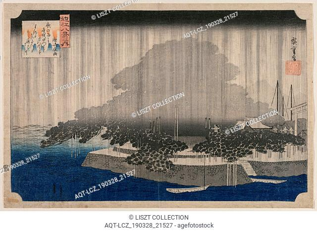 Night Rain at Karasaki, from the series Eight Views of Omi, c. 1835. Utagawa Hiroshige (Japanese, 1797-1858). Color woodblock print; image: 22.8 x 35