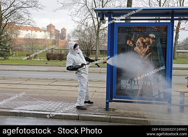 Crew of the Municipal Cleaning Company disinfect the public transport stops in Krakow due to the global coronavirus pandemic