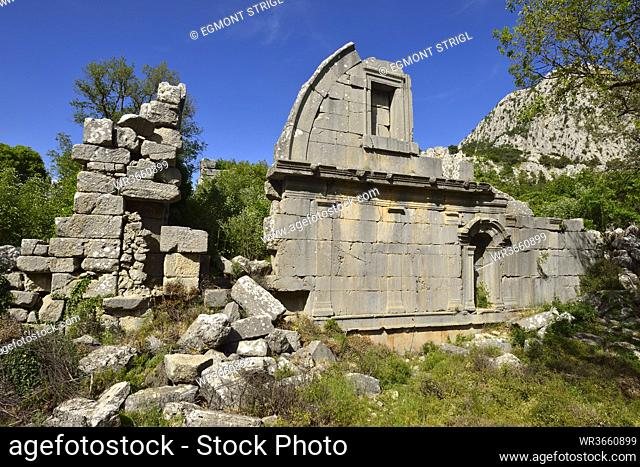 Turkey, View of antique ruin of gymnasion at archaeological site of Termessos