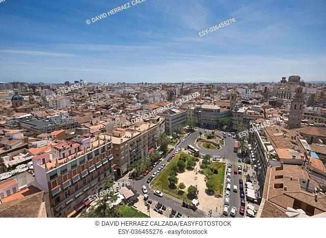 Aerial view of Valencia cityscape, Spain