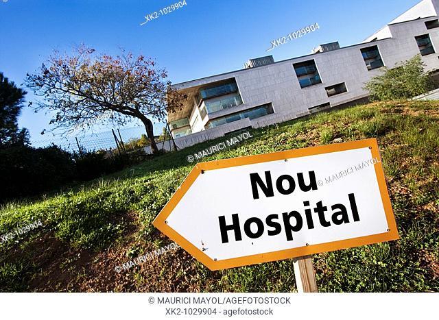 Direction sign to the New Hospital de Sant Pau. Barcelona, Spain