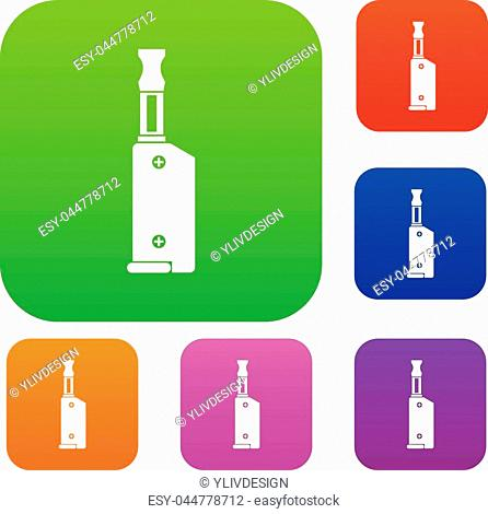 Electronic cigarette with mouthpiece set icon in different colors isolated vector illustration. Premium collection