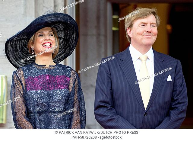 King Willem-Alexander and Queen Maxima of The Netherlands who arrive by coach attend an welcome ceremony at the Rideau Hall with Governor General Johnston and...