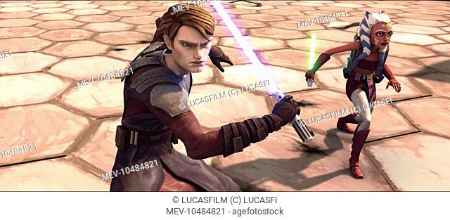 STAR WARS: THE CLONE WARS Jedi Knight Anakin Skywalker and padawan learner Ahsoka prepare for an attack