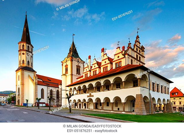 Historical town hall and basilica of St James in Levoca, Slovakia