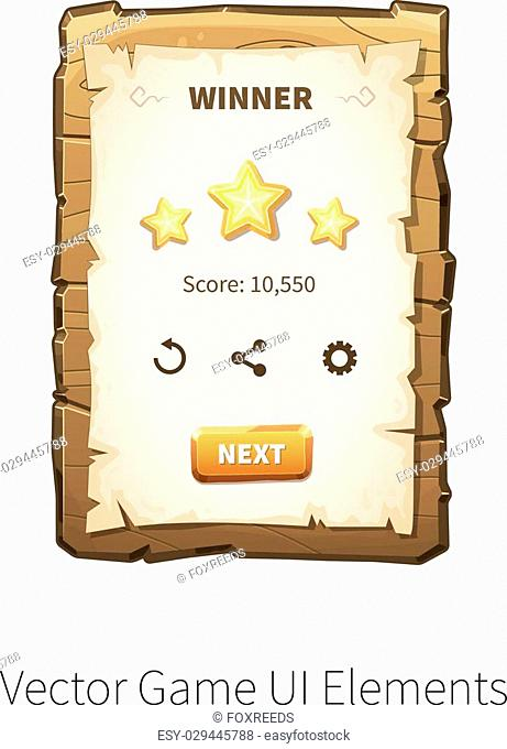 Win. Level completed. Vector graphical user interface UI GUI for 2d video games. Wooden menu, panels and buttons for menu