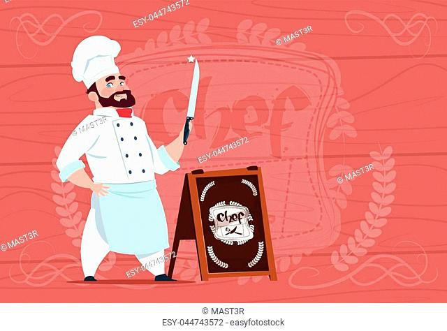 Chef Cook Holding Knife Smiling Cartoon Character In White Restaurant Uniform Over Wooden Textured Background Flat Vector Illustration