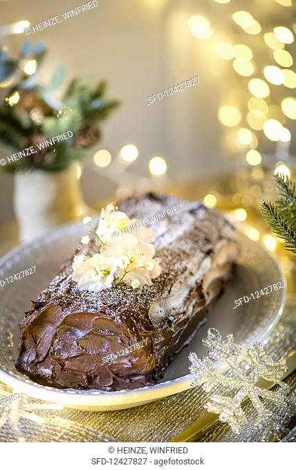 Yule Log with salted caramel butter
