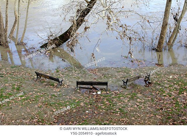 benches by the tiber river in rome italy