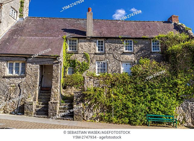 Old houses along Westgate Hill at Pembroke, Pembrokeshire, Wales, United Kingdom, Europe