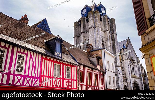 The Church of Notre-Dame de Louviers, dominates the surrounding buildings in Louviers, Normandy, France