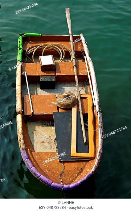 Fishing boat with straw hat, Sai Kung town, Hong Kong