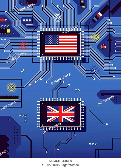 American and British flags disconnected on circuit board