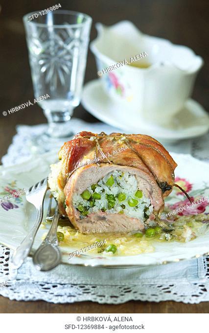 Stuffed roast pork, sliced