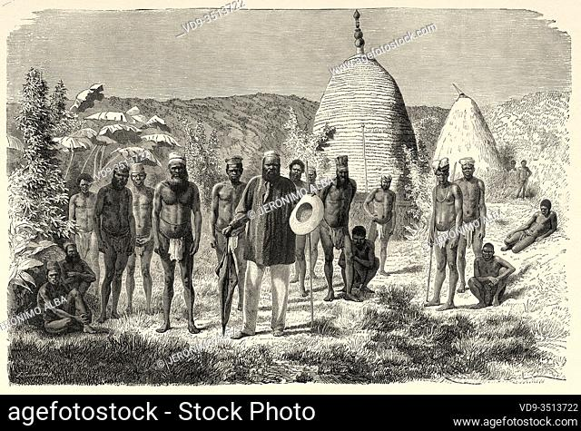 Indigenous people of the Mango and Kahona chief tribes, New Caledonia. Old engraving illustration, Journey to New Caledonia by Jules Garnier