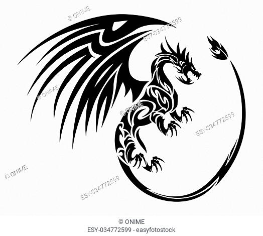 illustration of a furious flying dragon tattoo symbol with wing isolated on white background