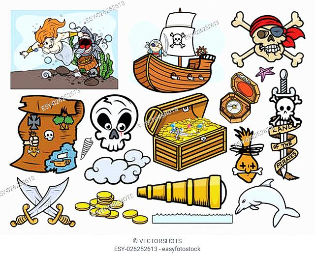 Drawing Art of Cartoon Pirates Elements and Graphic Objects Vector Illustration