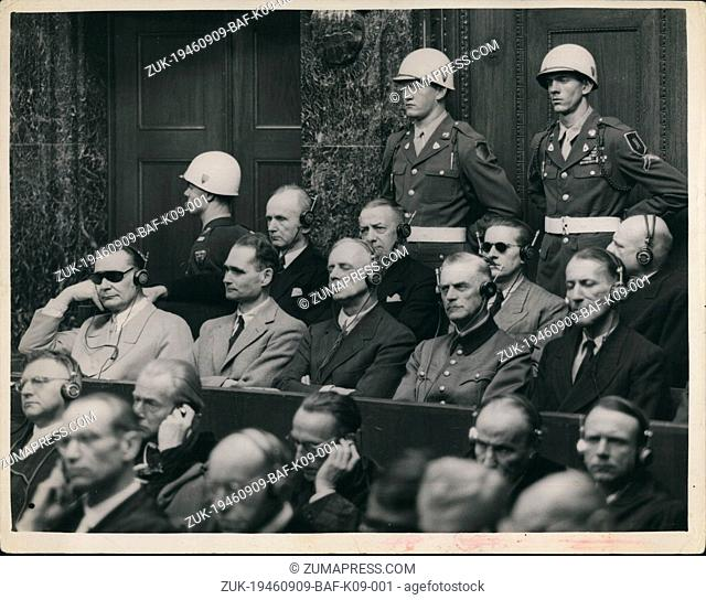Sep. 09, 1946 - Judgement Day At Nuremberg - Goering Listens To The Summary. Hermann Goering and 20 other disciples of Hitler listened to the summary at the...