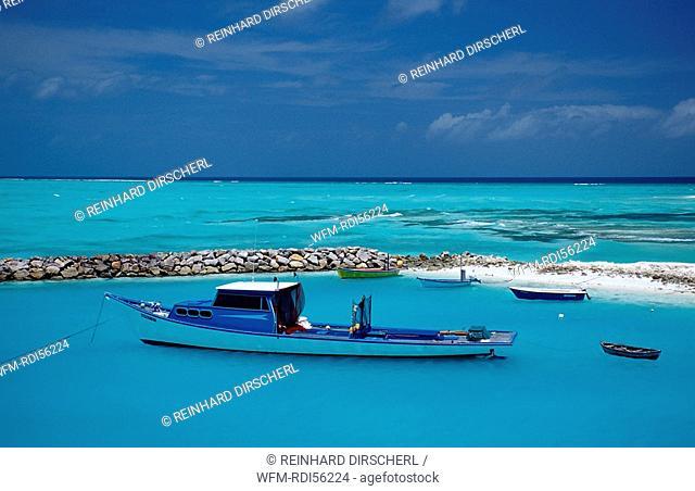 Fishing Boats and Dhonis at Maldives, Indian Ocean, Meemu Atoll, Maldives