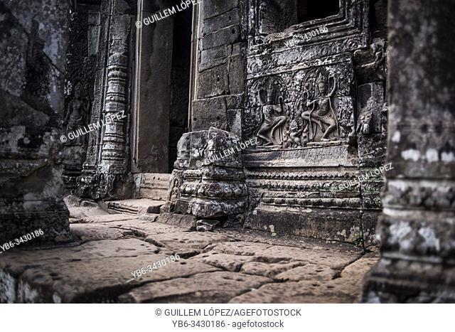 Detail of Bayon at the Angkor Thom temple in Angkor Wat, Siem Reap, Cambodia