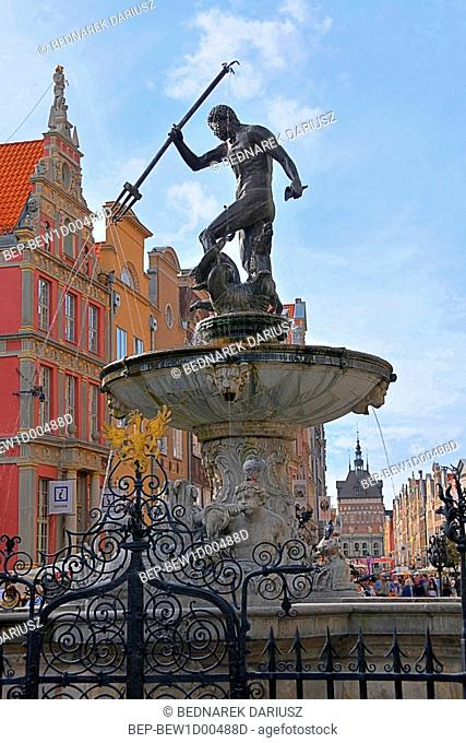 Neptune's fountain in Gdansk, Pomeranian Voivodeship, Poland
