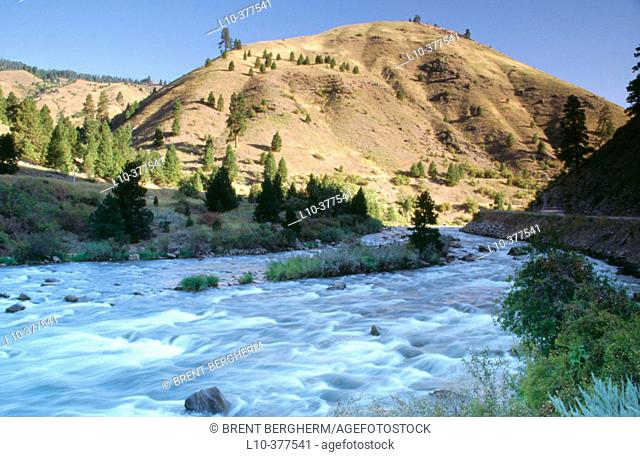 The north fork of the Payette river flows by in Valley County. Idaho. Usa