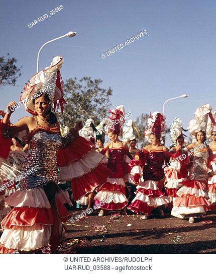 Der Karneval von Santa Cruz de Tenerife, Spanien 1970er Jahre. The carnival of Santa Cruz de Tenerife, Spain 1970s