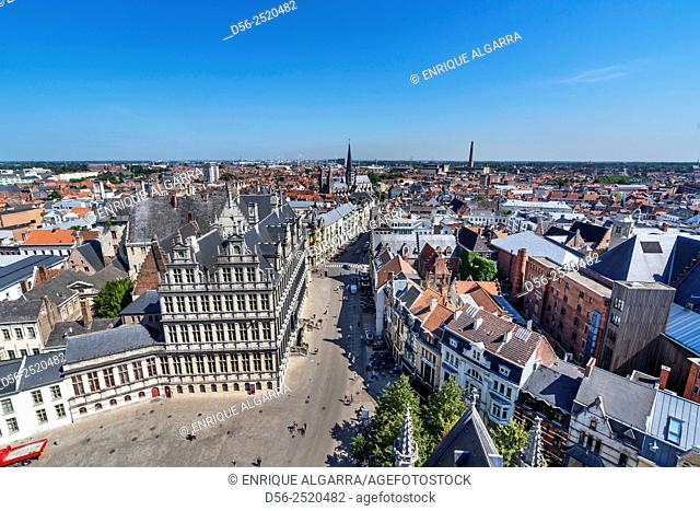 Elevated view over the centre of Ghent, Brussels, Europe
