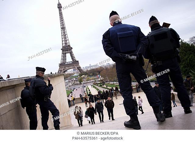 Police patrol at Place du Trocadero near the Eifel tower in Paris, France, 14 November 2015. At least 120 people were killed in a series of terrorist attacks in...