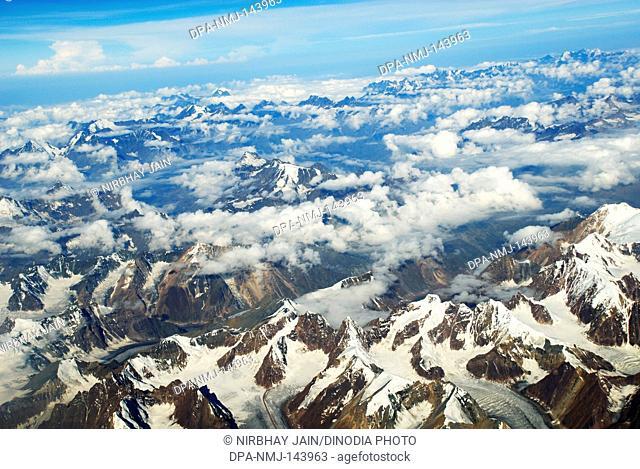 Snow covered mountain at Leh ; Ladakh ; Jammu & Kashmir ; India