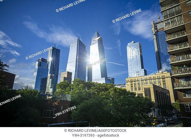 10 Hudson Yards, center left, 30 Hudson Yards, center right, and other development around Hudson Yards in New York on Wednesday, September 26, 2018