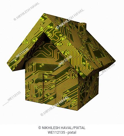 Circuit board printed on Model of house
