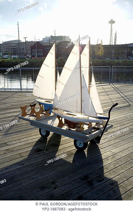 Boat cart at the Model Boat Pond, Lake Union Park - South Lake Union, Seattle, Washington