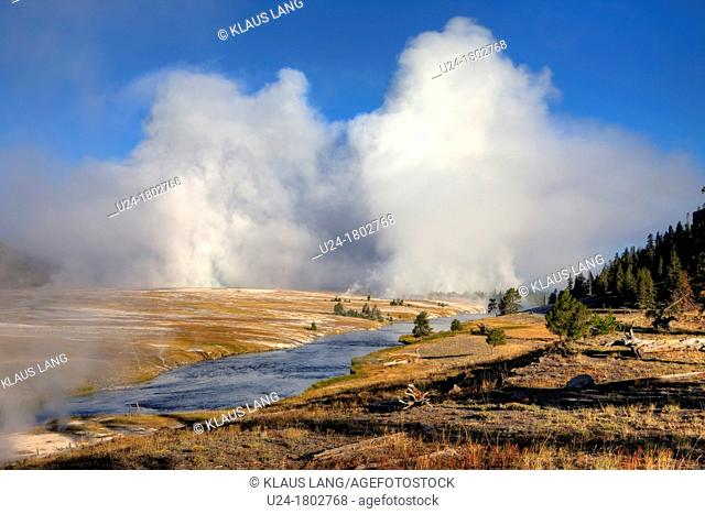 View of Midway Geyser Basin, Yellowstone National Park, Wyoming, USA