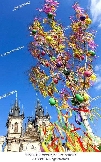A colourfully decorated tree, Easter, traditions, holidays, Old Town Prague Czech Republic