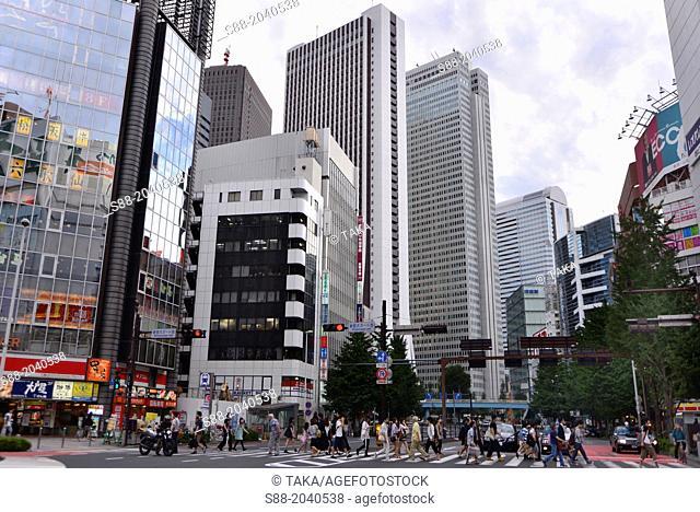 Street view of Shinjuku at central Tokyo