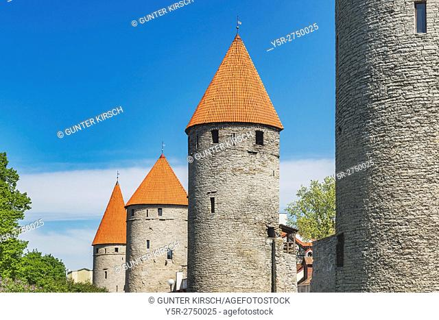 Towers and city wall at the Towers Square. The Towers Square is a park on the old city wall. With about two kilometers of original city wall