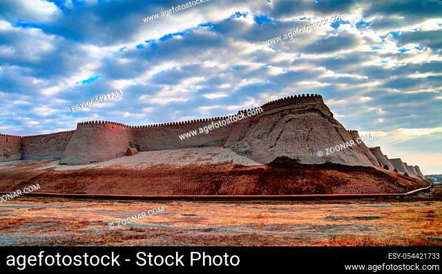 Sunset view to Itchan Kala fortress in Khiva at Uzbekistan