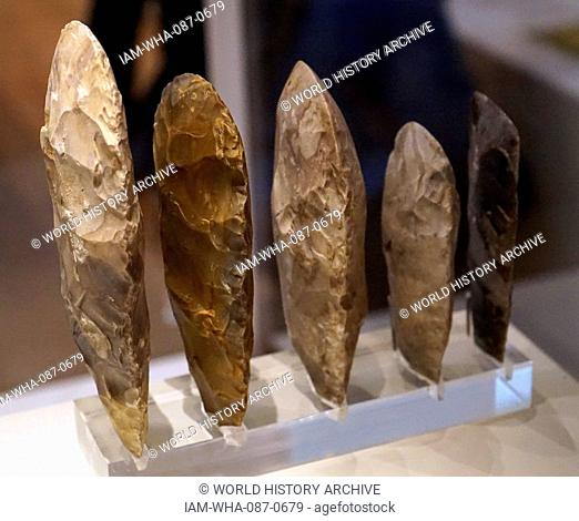 Late Neolithic axe heads 3000-2000 BC, Found at Great Baddow, England; flint