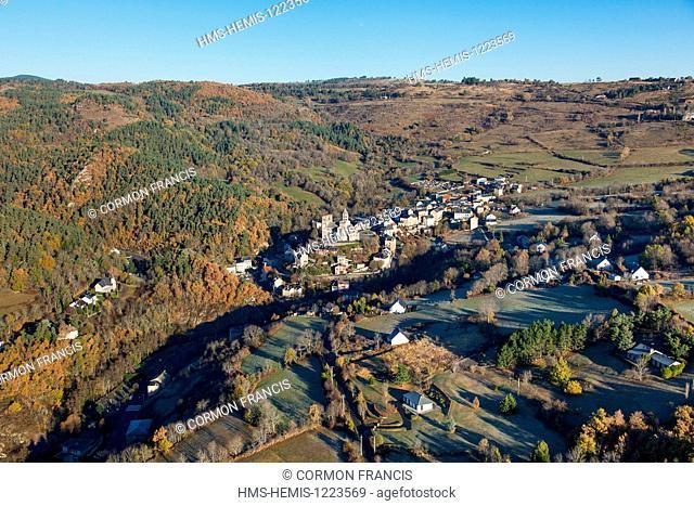 France, Puy de Dome, Parc Naturel Regional des Volcans d'Auvergne (Auvergne Volcanoes Natural Regional Park), Saint Nectaire (aerial view)