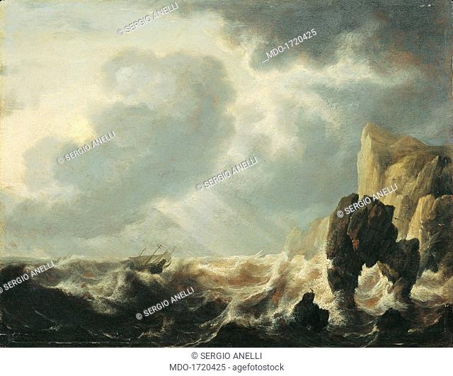 Stormy Sea with a Cliff, after Simon Jacobsz de Vlieger, ca. 1640 - 1660, 17th Century, oil on panel, 41 x 53 cm. Italy, Lombardy, Milan, Castello Sforzesco