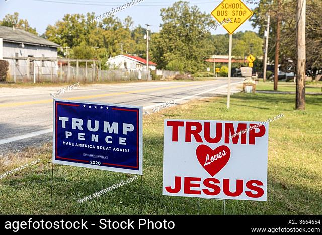 """Uniontown, Pennsylvania - A lawn sign reading """"""""Trump Loves Jesus"""""""" weeks before the 2020 presidential election"""