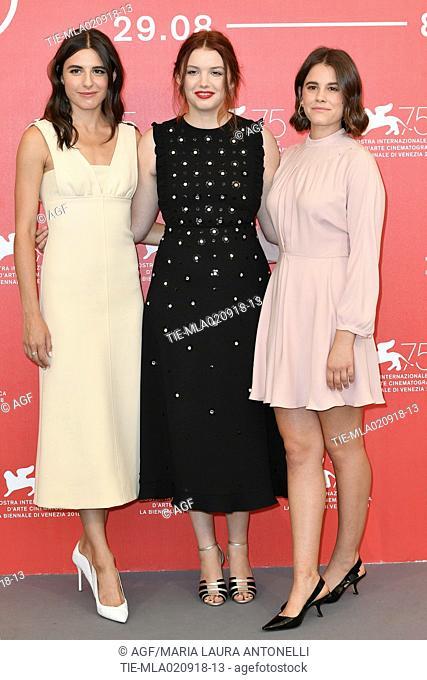 Marianne Rendon, Hannah Murray, Sosie Bacon during 'Charlie Says' photocall, 75th Venice International Film Festival, Italy - 02 Sep 2018