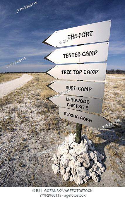 Directional Signs for lodges at Onguma Game Reserve, Namibia, Africa