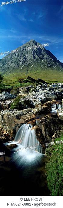 Waterfall on the River Coupall with Buachaille Etive Mor in background, Glen Etive, Rannoch Moor, near Glencoe, Western Highlands, Scotland, United Kingdom