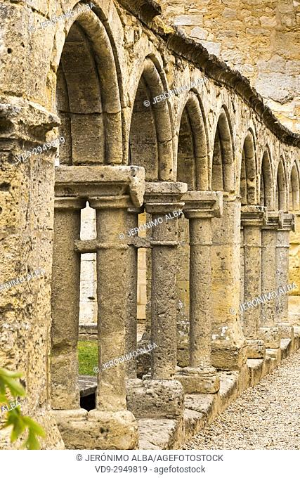 Cordeliers cloister of Franciscan Convent, XIV Century, Saint-Emilion Bordeaux wine region. Aquitaine Region, Gironde Department. France Europe