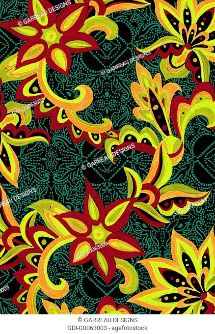 Tropical flowers layered over dotted background
