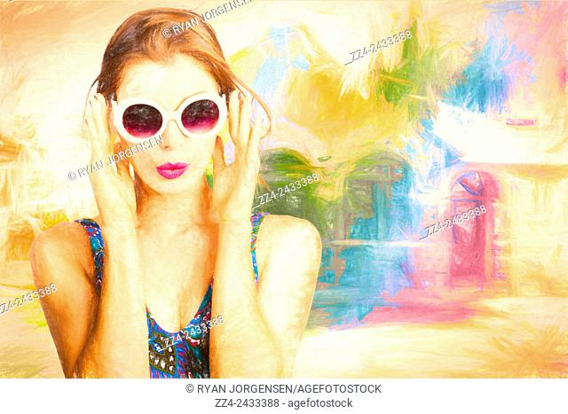 Fine art digital sketch of an adorable summertime woman wearing bright and colourful fashion at outdoor beach vista. Watercolur pinup swimmer
